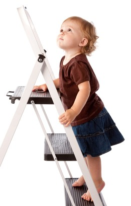 Baby Girl Looking Up and Climbing Ladder
